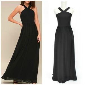 LULUS Air of Romance Black Maxi Halter Dress